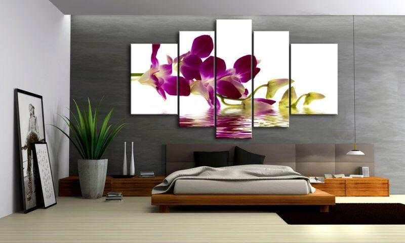orchideen leinwand 5 bilder bl ten wasser m50460 xxl die leinwandfabrik. Black Bedroom Furniture Sets. Home Design Ideas