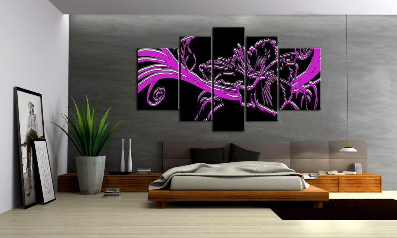 violet flower 5 bilder 3d modern art style m50509 xxl - die, Wohnzimmer