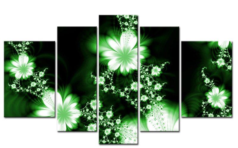 Green Flowers 5 Bilder Modern Art Style Grün M50513 Xxl - Die
