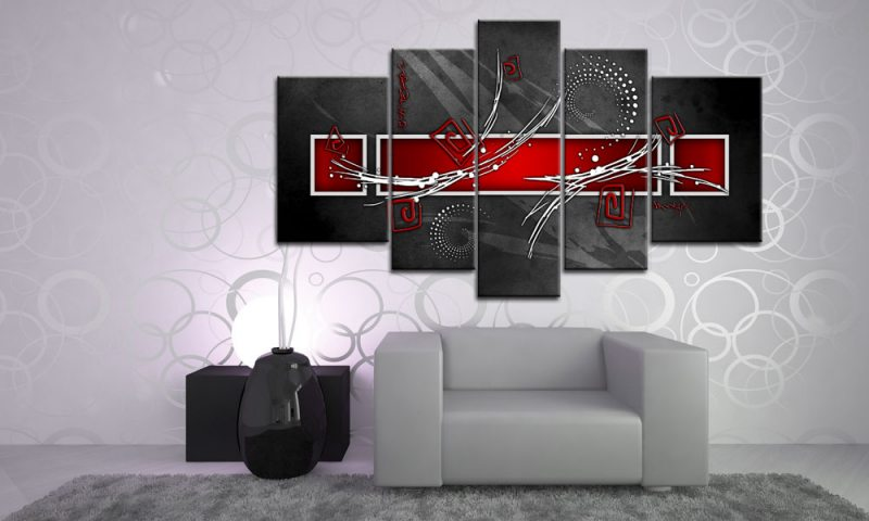 Digital art red leinwand 5 bilder wandbild m51496 die for Wohnzimmer leinwandbilder