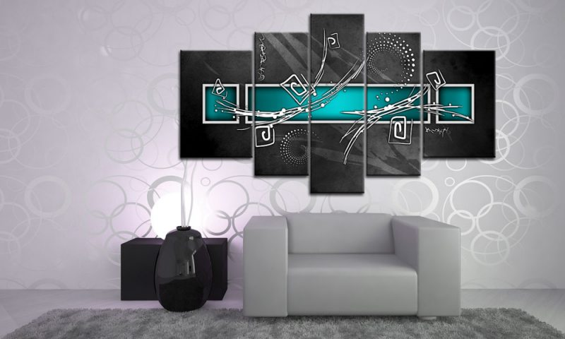 digital art t rkis leinwand 5 bilder wandbild m51499 die leinwandfabrik. Black Bedroom Furniture Sets. Home Design Ideas