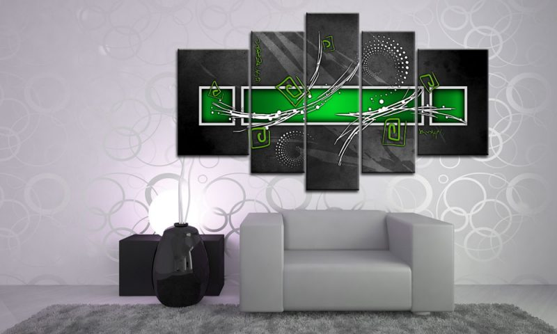 digital art green leinwand 5 bilder wandbild m51500 die leinwandfabrik. Black Bedroom Furniture Sets. Home Design Ideas