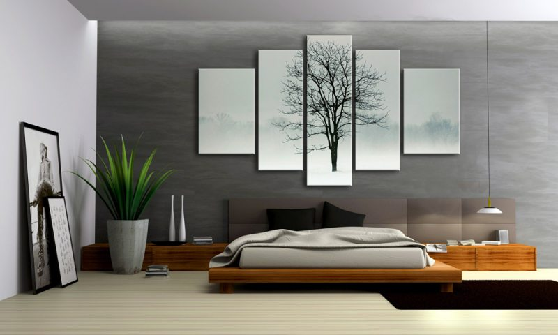 baum winterlandschaft leinwand 5 bilder natur m50128 xxl die leinwandfabrik. Black Bedroom Furniture Sets. Home Design Ideas
