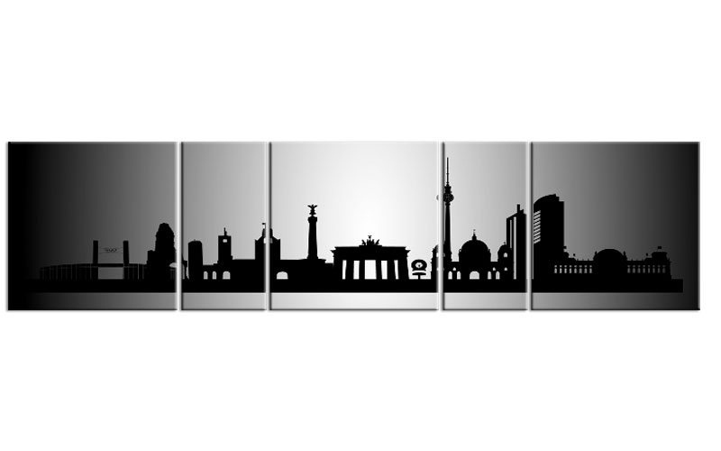 panorama leinwand 5 bilder berlin silber p500003 xxl skyline die leinwandfabrik. Black Bedroom Furniture Sets. Home Design Ideas