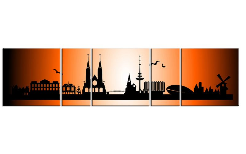 panorama leinwand 5 bilder bremen orange p500005 xxl skyline die leinwandfabrik. Black Bedroom Furniture Sets. Home Design Ideas