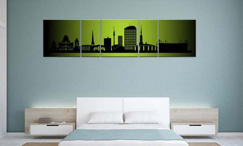 panorama leinwand 5 bilder dortmund gr n p500007 xxl skyline die leinwandfabrik. Black Bedroom Furniture Sets. Home Design Ideas