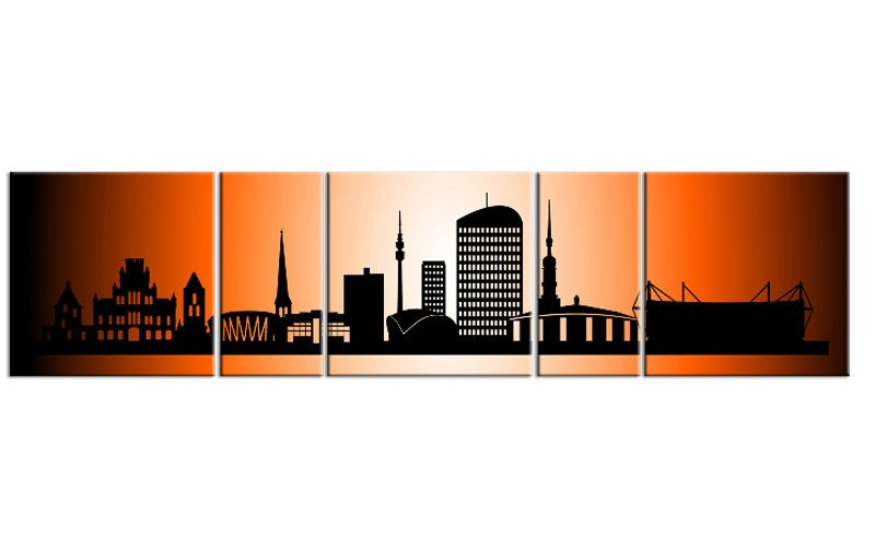 panorama leinwand 5 bilder dortmund orange p500008 xxl skyline die leinwandfabrik. Black Bedroom Furniture Sets. Home Design Ideas