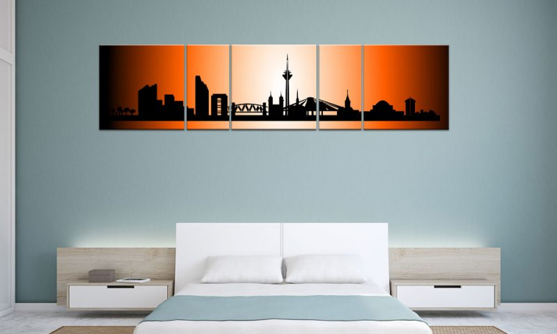 panorama leinwand 5 bilder d sseldorf orange p500014 xxl skyline die leinwandfabrik. Black Bedroom Furniture Sets. Home Design Ideas