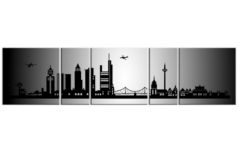 panorama leinwand 5 bilder frankfurt silber p500018 xxl skyline die leinwandfabrik. Black Bedroom Furniture Sets. Home Design Ideas