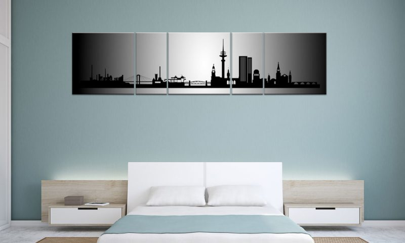 panorama leinwand 5 bilder hamburg silber p500021 xxl skyline die leinwandfabrik. Black Bedroom Furniture Sets. Home Design Ideas
