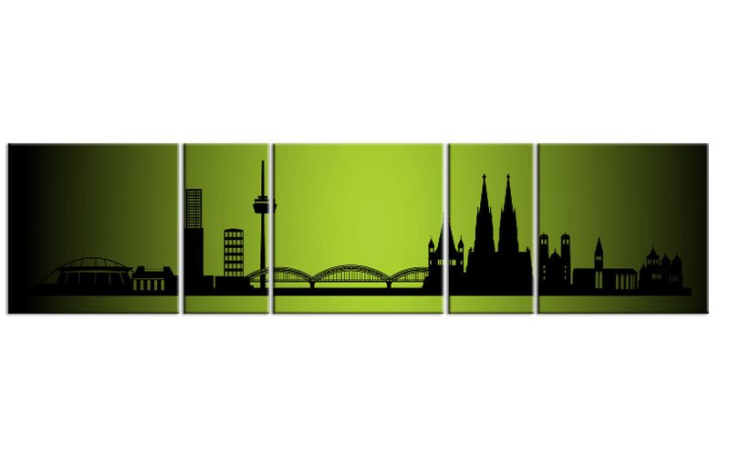 panorama leinwand 5 bilder k ln gr n p500022 xxl skyline die leinwandfabrik. Black Bedroom Furniture Sets. Home Design Ideas