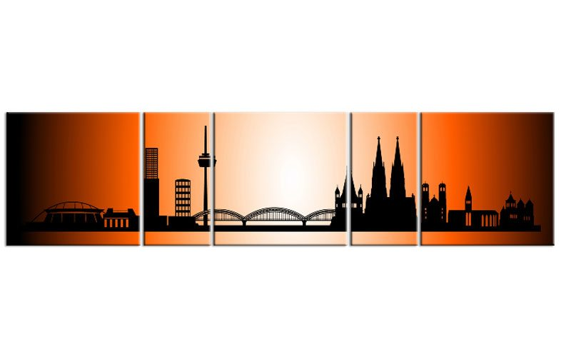 panorama leinwand 5 bilder k ln orange p500023 xxl skyline die leinwandfabrik. Black Bedroom Furniture Sets. Home Design Ideas