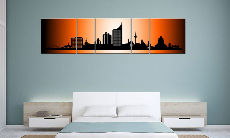 panorama leinwand 5 bilder leipzig orange p500026 xxl. Black Bedroom Furniture Sets. Home Design Ideas
