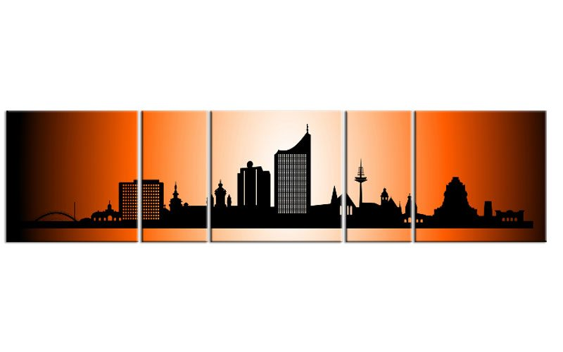 panorama leinwand 5 bilder leipzig orange p500026 xxl skyline die leinwandfabrik. Black Bedroom Furniture Sets. Home Design Ideas