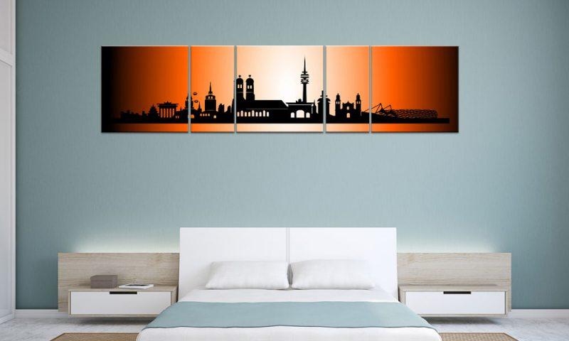 panorama leinwand 5 bilder m nchen orange p500029 xxl. Black Bedroom Furniture Sets. Home Design Ideas