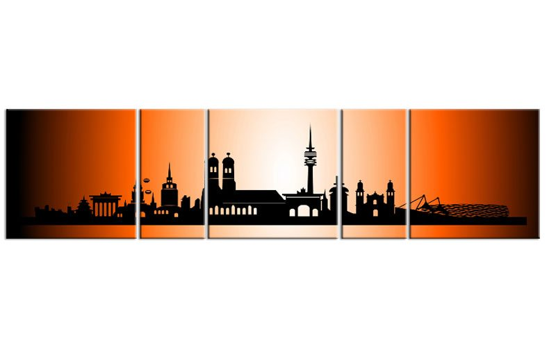 panorama leinwand 5 bilder m nchen orange p500029 xxl skyline die leinwandfabrik. Black Bedroom Furniture Sets. Home Design Ideas