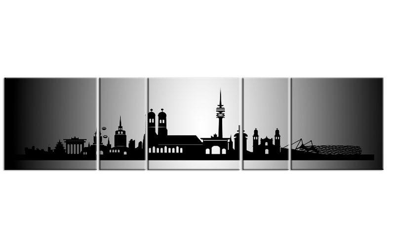 panorama leinwand 5 bilder m nchen silber p500030 xxl skyline die leinwandfabrik. Black Bedroom Furniture Sets. Home Design Ideas