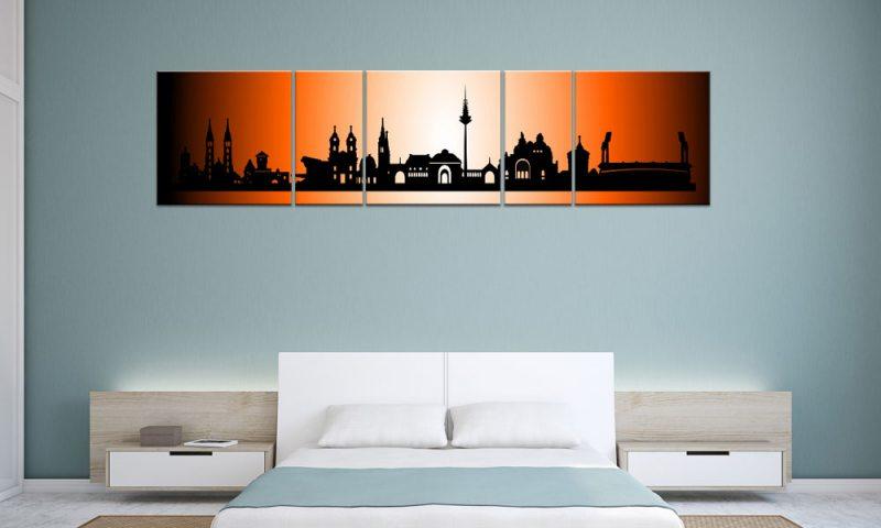 panorama leinwand 5 bilder n rnberg orange p500032 xxl skyline die leinwandfabrik. Black Bedroom Furniture Sets. Home Design Ideas