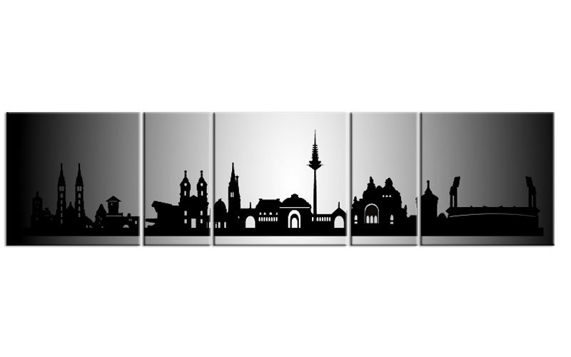panorama leinwand 5 bilder n rnberg silber p500033 xxl skyline die leinwandfabrik. Black Bedroom Furniture Sets. Home Design Ideas