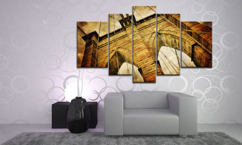 brooklyn bridge leinwand 5 bilder new york m51194 xxl die leinwandfabrik. Black Bedroom Furniture Sets. Home Design Ideas