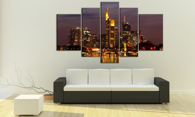 frankfurt leinwand 5 bilder skyline m50149 xxl die leinwandfabrik. Black Bedroom Furniture Sets. Home Design Ideas