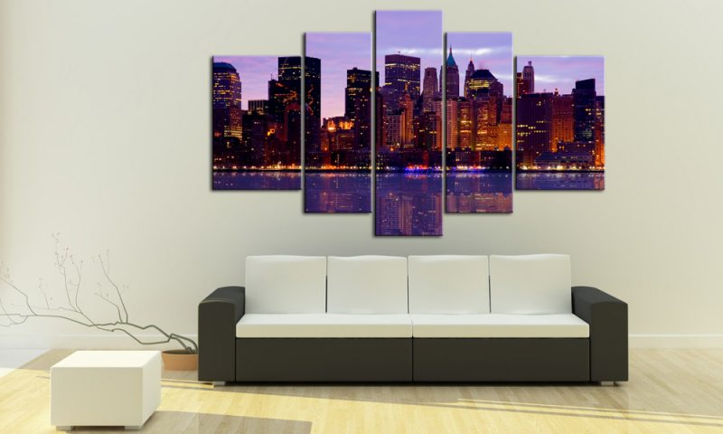 manhatten morning leinwand 5 bilder usa m50155 xxl die leinwandfabrik. Black Bedroom Furniture Sets. Home Design Ideas