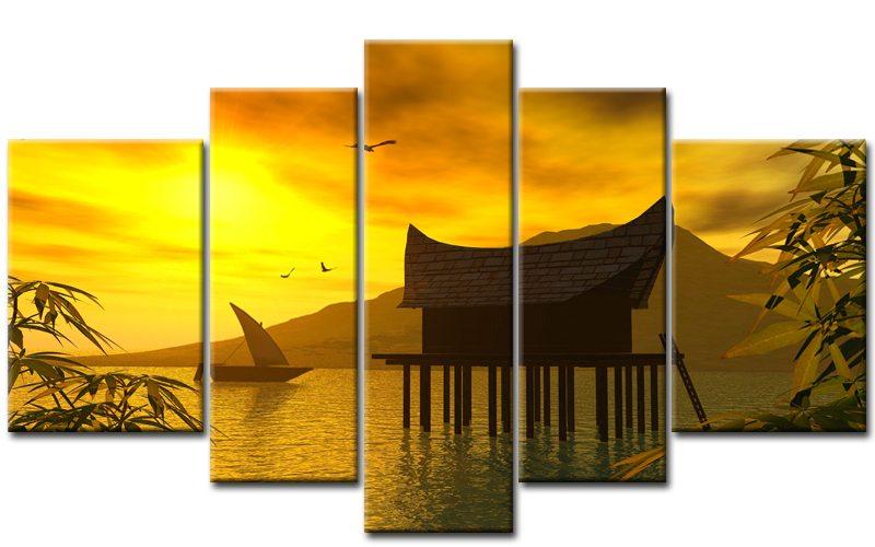 Asiatische Bilder Auf Leinwand house leinwand 5 bilder landschaft gelb m50157 die