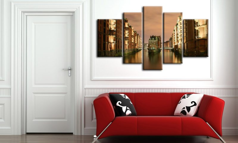 hamburg leinwand 5 bilder speicherstadt m50345 xxl die leinwandfabrik. Black Bedroom Furniture Sets. Home Design Ideas
