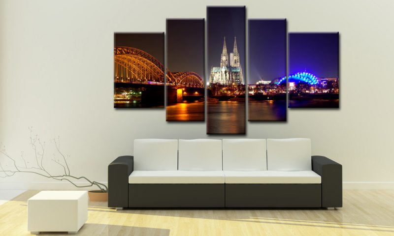 k ln leinwand 5 bilder bei nacht m50350 xxl die leinwandfabrik. Black Bedroom Furniture Sets. Home Design Ideas