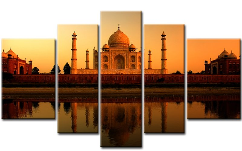 taj mahal leinwand 5 bilder indien m50351 xxl die leinwandfabrik. Black Bedroom Furniture Sets. Home Design Ideas