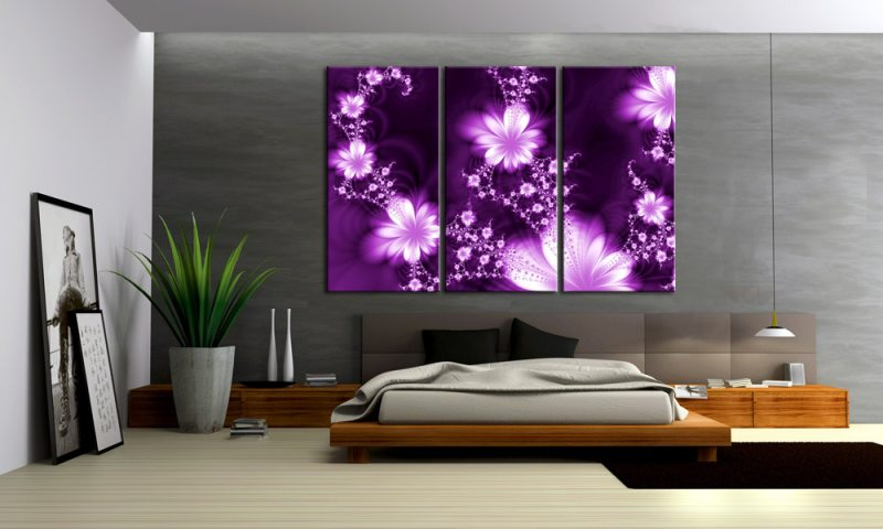 violette fleur 3 bilder lila modern style c00944 die leinwandfabrik. Black Bedroom Furniture Sets. Home Design Ideas