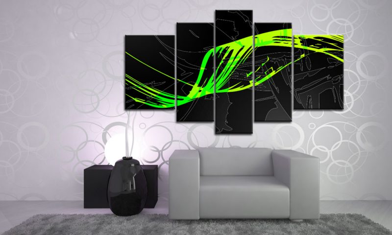 modern neon art leinwand xxl 5 bilder m51533 abstrakt. Black Bedroom Furniture Sets. Home Design Ideas