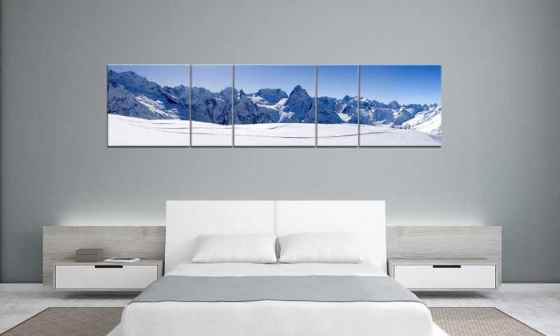 snowy mountain winter panorama 5 bilder p500039 xxl leinwand die leinwandfabrik. Black Bedroom Furniture Sets. Home Design Ideas