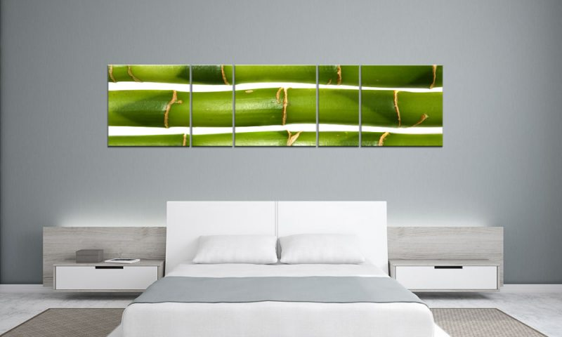 green bamboo style panorama 5 bilder p500042 xxl leinwand die leinwandfabrik. Black Bedroom Furniture Sets. Home Design Ideas