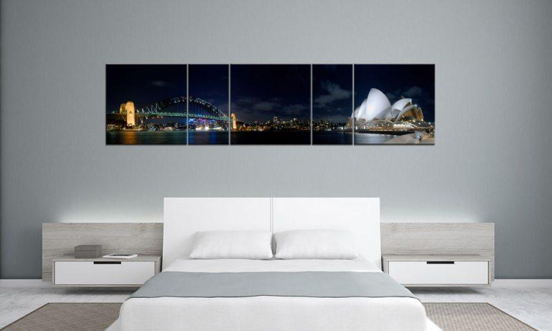 sydney australien panorama 5 bilder p500043 xxl leinwand die leinwandfabrik. Black Bedroom Furniture Sets. Home Design Ideas