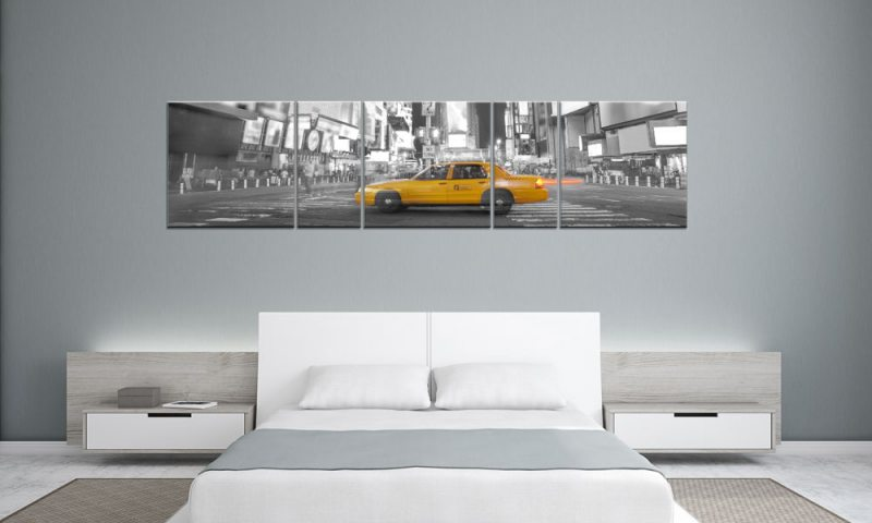 yellow taxi new york panorama 5 bilder p500053 xxl leinwand die leinwandfabrik. Black Bedroom Furniture Sets. Home Design Ideas