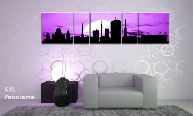 dortmund sunset violet panorama 5 bilder p500098 die leinwandfabrik. Black Bedroom Furniture Sets. Home Design Ideas