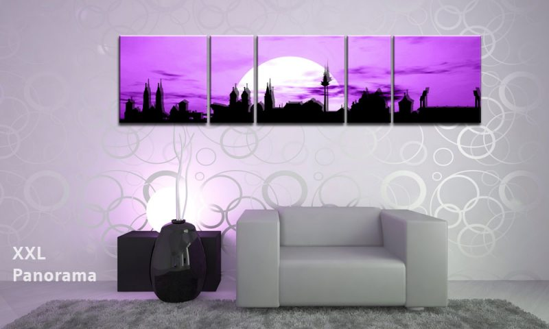 n rnberg sunset violet panorama 5 bilder p500195 die leinwandfabrik. Black Bedroom Furniture Sets. Home Design Ideas