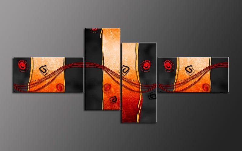 cool orange abstrakt leinwand 4 bilder wandbild m42059 die leinwandfabrik. Black Bedroom Furniture Sets. Home Design Ideas