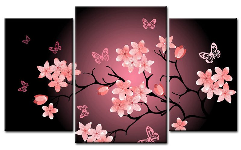 cherry blossom leinwand 3 bilder asia mxl30685 die leinwandfabrik. Black Bedroom Furniture Sets. Home Design Ideas