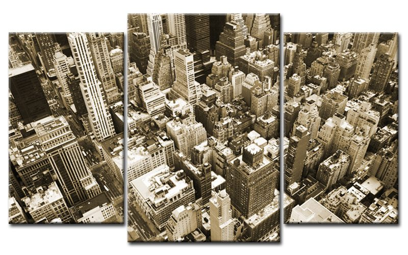 new york leinwand 3 bilder skyline sepia mxl30214 die leinwandfabrik. Black Bedroom Furniture Sets. Home Design Ideas