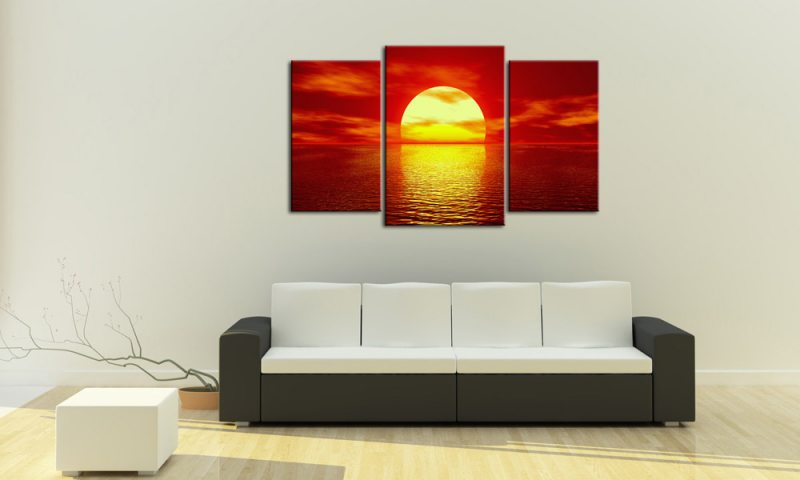 rote sonne leinwand 3 bilder sunset mxl30217 die leinwandfabrik. Black Bedroom Furniture Sets. Home Design Ideas