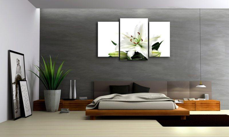 weisse lilie leinwand 3 bilder blume mxl30221 die leinwandfabrik. Black Bedroom Furniture Sets. Home Design Ideas