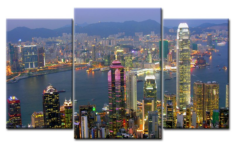 hong kong leinwand 3 bilder hdr skyline mxl30332 die leinwandfabrik. Black Bedroom Furniture Sets. Home Design Ideas
