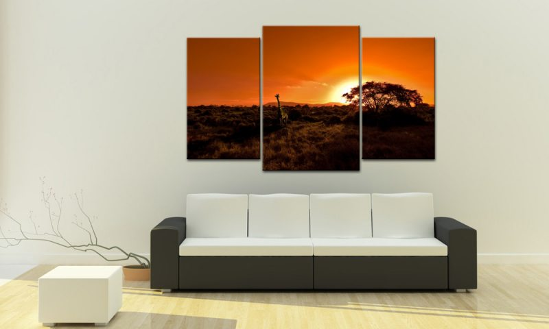 afrika sunset leinwand 3 bilder giraffe mxl30386 die leinwandfabrik. Black Bedroom Furniture Sets. Home Design Ideas