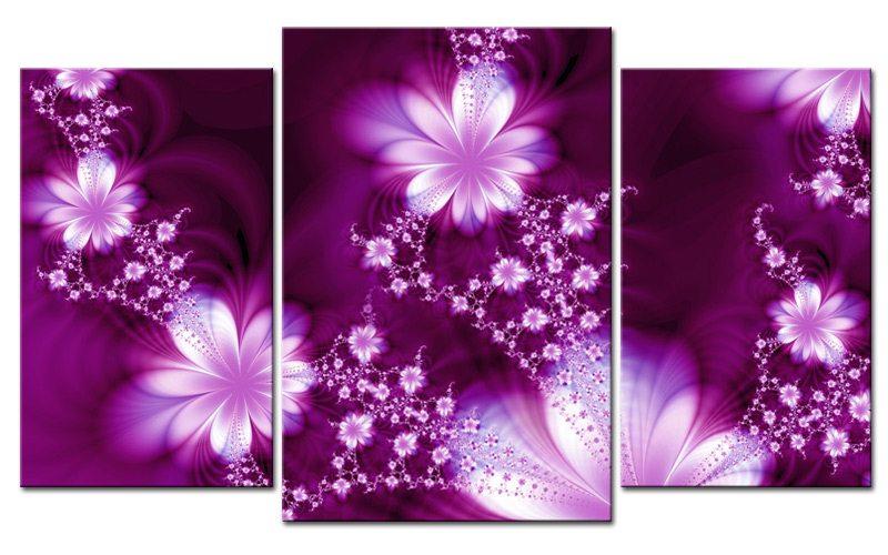 FLOWER DREAM LEINWAND 3 BILDER LILA ART M30526 - Die Leinwandfabrik