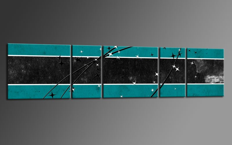STAR STYLE TÜRKIS Panorama 5 BILDER P500304 XXL LEINWAND KEILRAHMEN Living