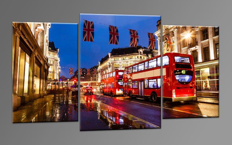 red bus london leinwand 3 bilder m32575 die leinwandfabrik. Black Bedroom Furniture Sets. Home Design Ideas