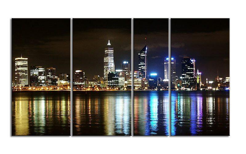 city skyline night leinwand 4 bilder xxl bild d00663 die leinwandfabrik. Black Bedroom Furniture Sets. Home Design Ideas