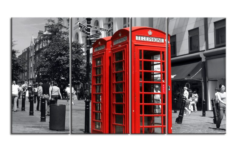 london phonebox uk leinwand 4 bilder xxl bild d00682 die leinwandfabrik. Black Bedroom Furniture Sets. Home Design Ideas